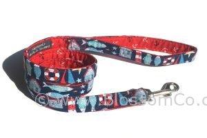 handmade in the UK coastal theme dog lead