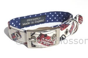 London themes dog collar with London buses and taxis