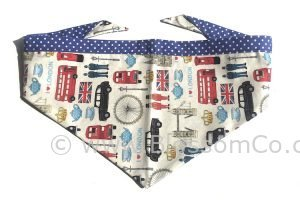 handmade dog bandana with london landmarks design