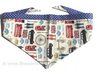 handmade dog bandana with london landmarks design