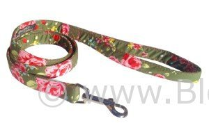 Olive and floral print dog lead by BlossomCo