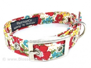 stylish floral fabric dog collar made in england