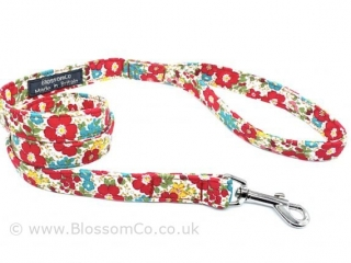 ref flowers floral pattern dog lead handmade in the UK