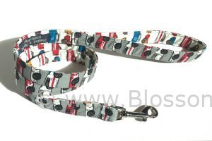 Dog lead in racing cars fabric design