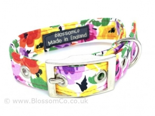 pretty floral fabric dog collar made in England