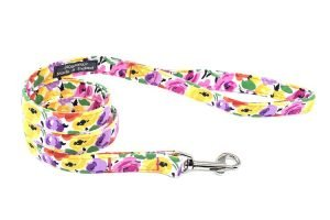 Pretty Floral Fabric Dog Lead Handmade in the UK