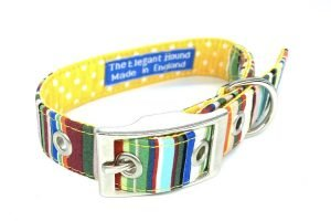 handmade dog collar in bright stripe fabric