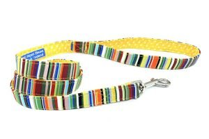 handmade dog lead in stunning stripes fabric