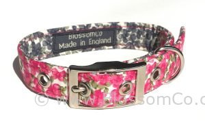 stunning pink floral dog collar handmade in the uk