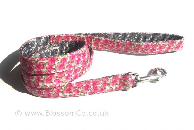 beautiful handmade dog lead in pink floral fabric