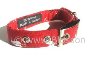 dog collar with sea gulls theme pattern