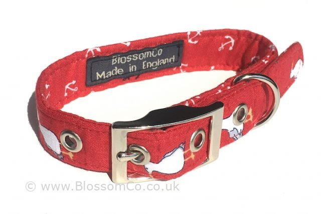 handmade in uk in bright red with seagulls design dog collar