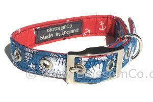 blue and white seashell motif design dog collar