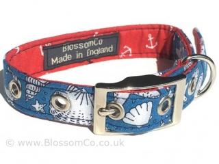 blue and white seashell motif design dog collar