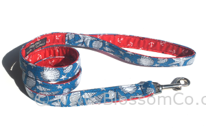 seaside design dog lead in sea blue with white sea shell motif design