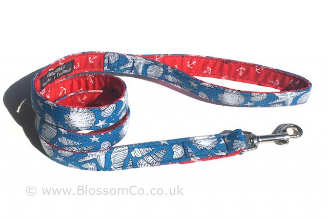 seaside design dog lead in sea blue with white sea shell motif design