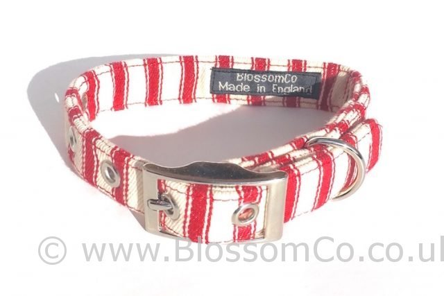 super soft red and white ticking dog collar