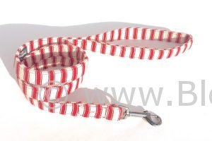 handmade dog collar in soft red ticking fabric