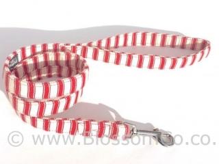 handmade dog collar in soft red ticking fabric