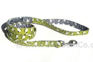 Dog lead handmade in england with green background and sheep pattern