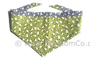 Handmade bandana for dogs in light green design with sheep