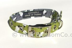 handmade dog collar in light green with sheep design
