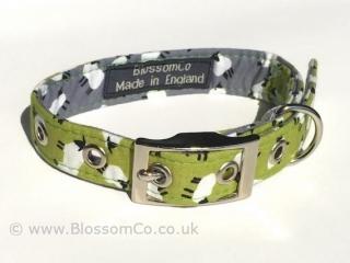 handmade dog collar in light green with sheep design