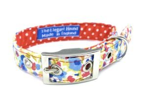 pretty floral fabric dog collar made in great Britain