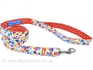 pretty summer style floral fabric dog lead made in england