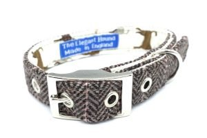 Herringbone Tweed Style Dog Collar made in the UK