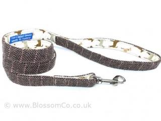 Herringbone Tweed Style Dog Lead handmade in Great Britain