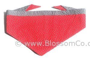 handmade in england red colour dog bandana with white stars