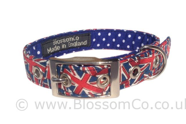 Union Jack dog collar by BlossomCo