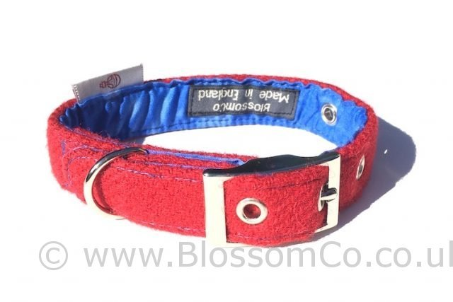 Vatersay Red Harris Tweed Dog Collar by BlossomCo