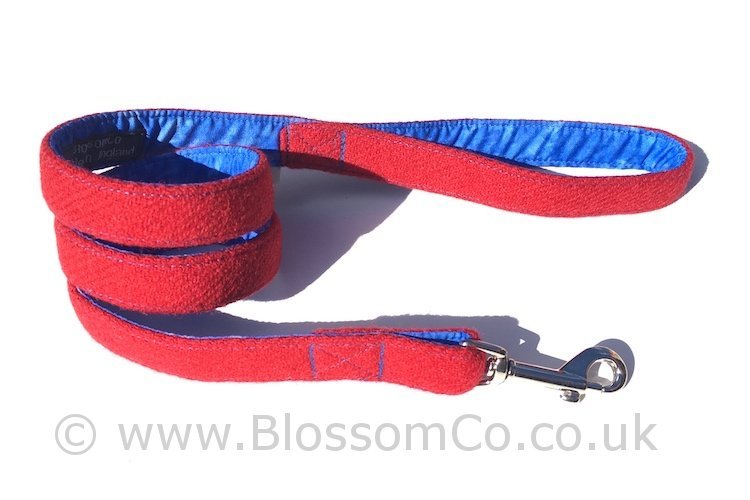 Vatersay Red Harris Tweed Dog Lead by BlossomCo