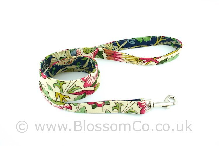 Dog lead by BlossomCo in William Morris Lodden design