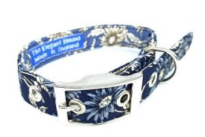 two tone blue floral fabric dog collar handmade in the uk