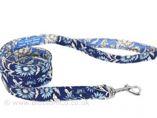 two tone blue floral dog lead handmade in england